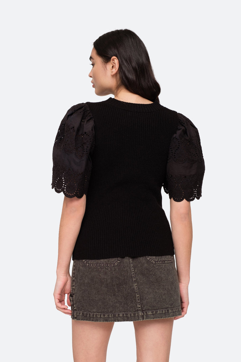 Black - Nadene Combo Sweater Back View 4