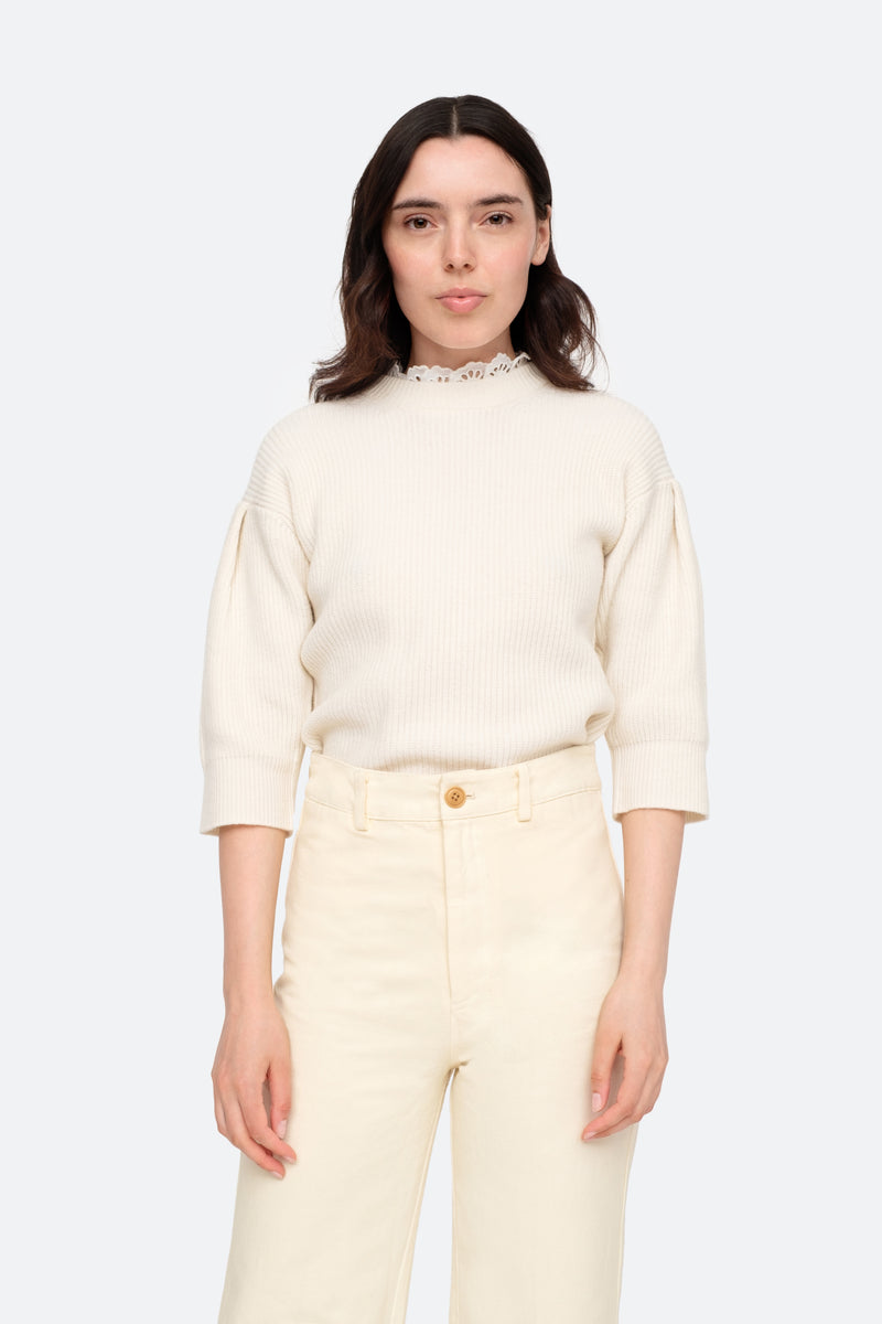 Cream-Nadene Sweater-Tucked In View 5