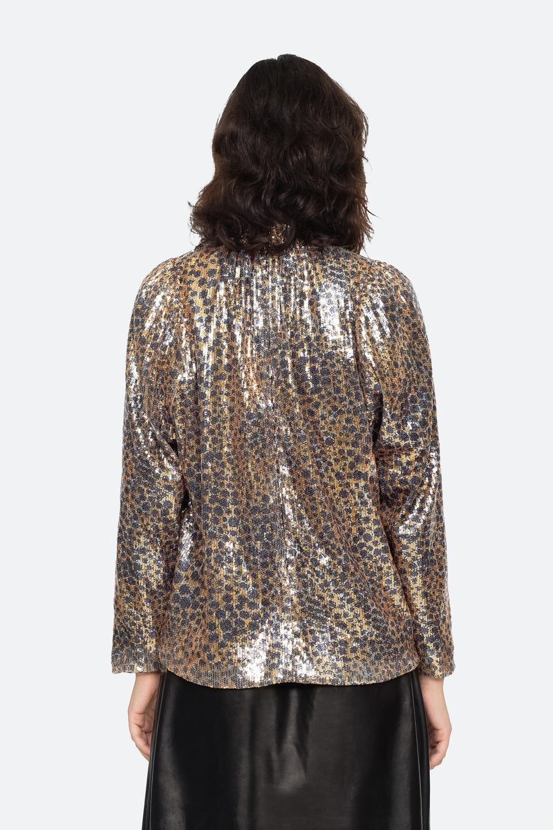 Gold - Leo Sequin Blouse Back View 3