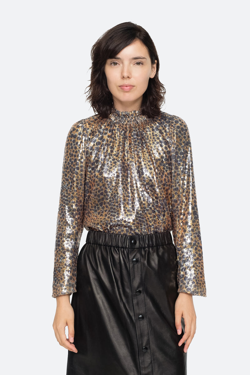 Gold - Leo Sequin Blouse Front View 1