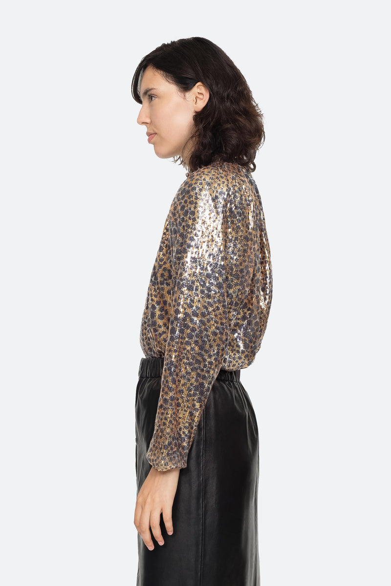 Gold - Leo Sequin Blouse Side View 2