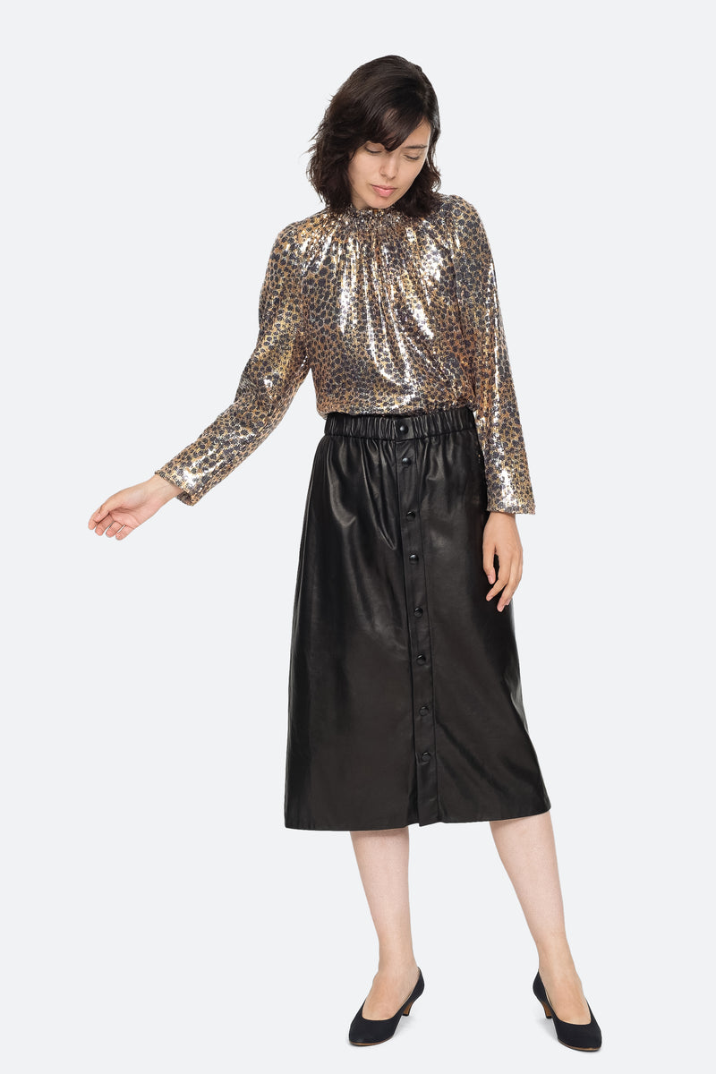 Gold - Leo Sequin Blouse Full Body View 5