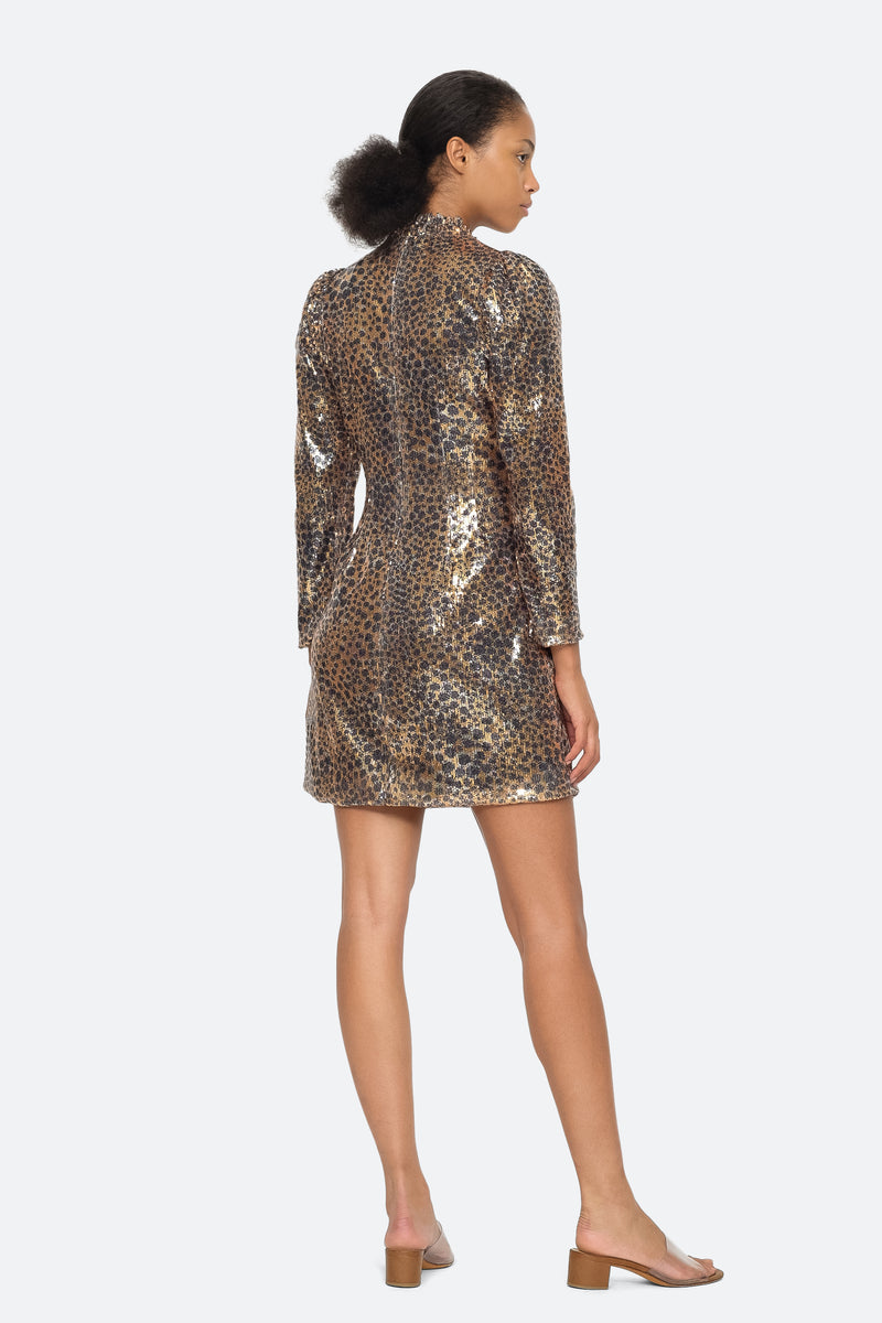 Gold - Leo Sequin Dress Back View 2