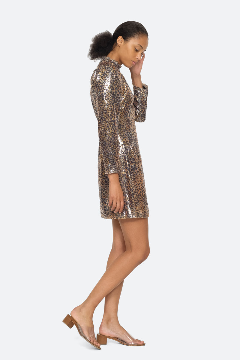 Gold - Leo Sequin Dress Side View 3