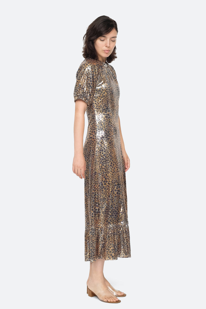 Gold - Leo Sequin Midi Dress Side View 3