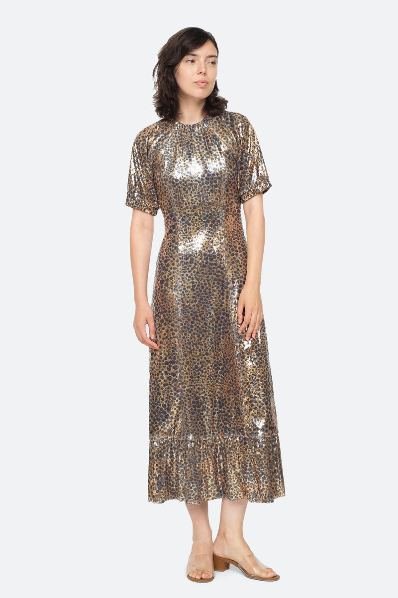 Gold - Leo Sequin Midi Dress Front View 1