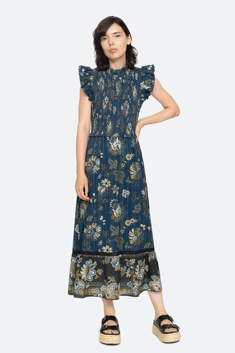 Blue - Pascale Midi Dress Front View 5