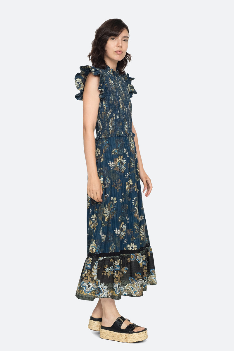 Blue - Pascale Midi Dress Side View 7