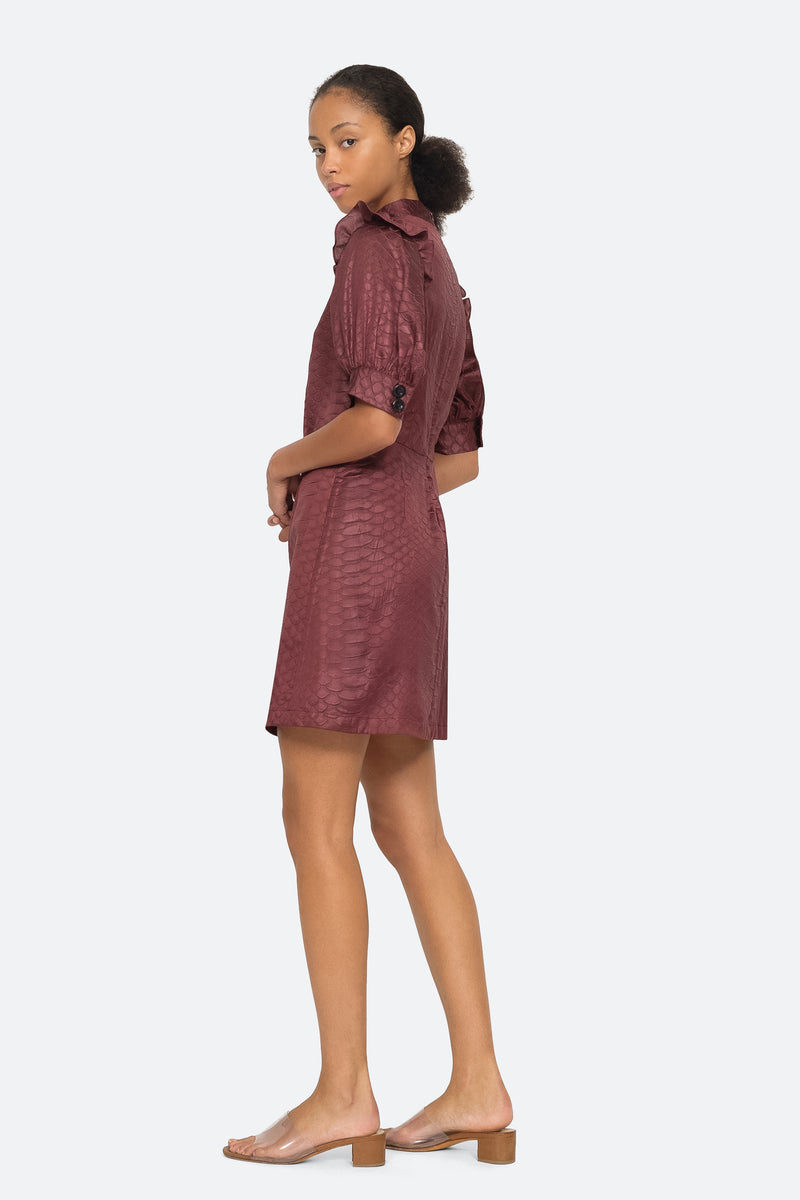 Burgundy - Simon Dress Side View 3