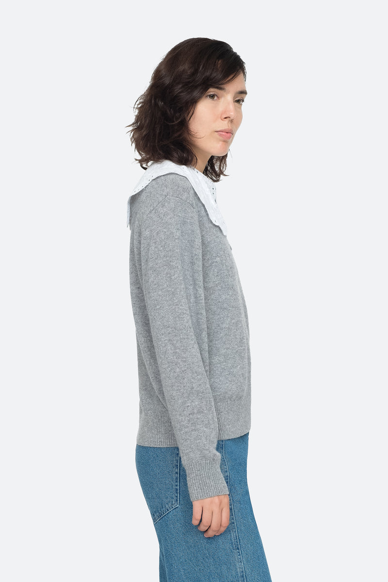 Grey - Zippy Sweater Side View 3