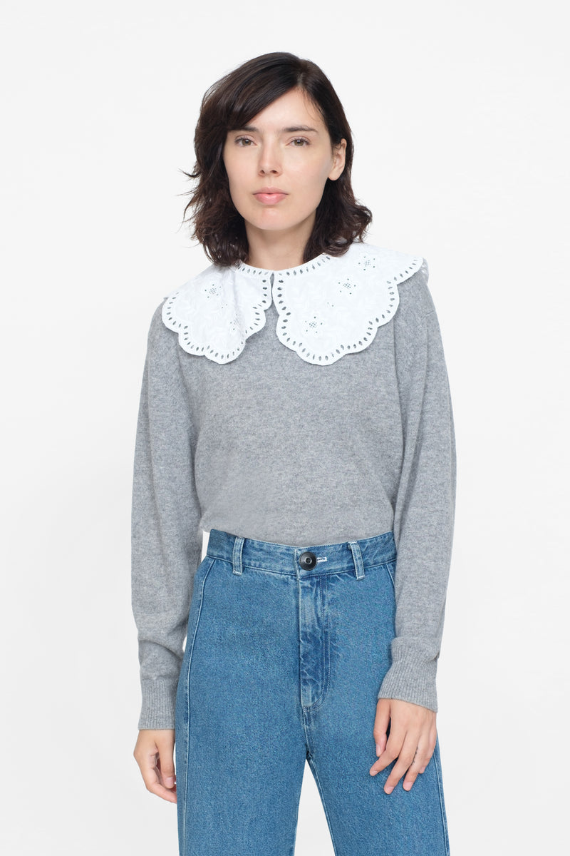 White - Zippy Lace Collar Front View 3