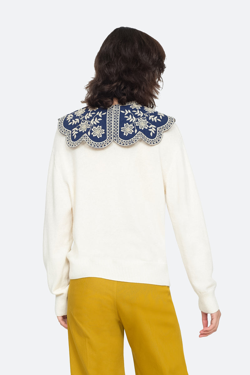White - Zippy Sweater Back View 7