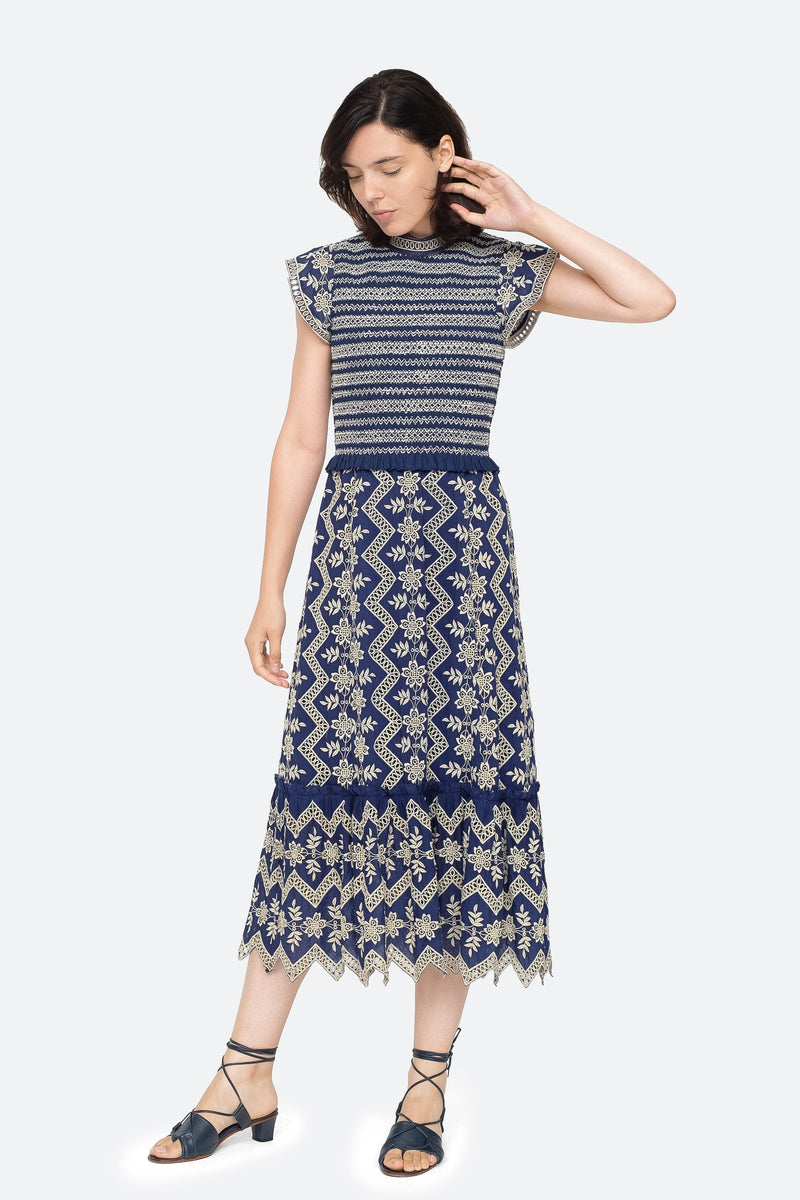 Blue - Zippy Midi Dress Front View 5
