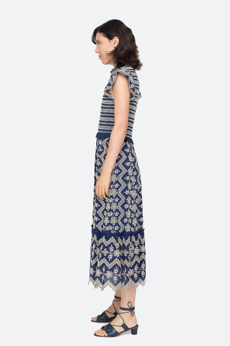 Blue - Zippy Midi Dress Side View 7