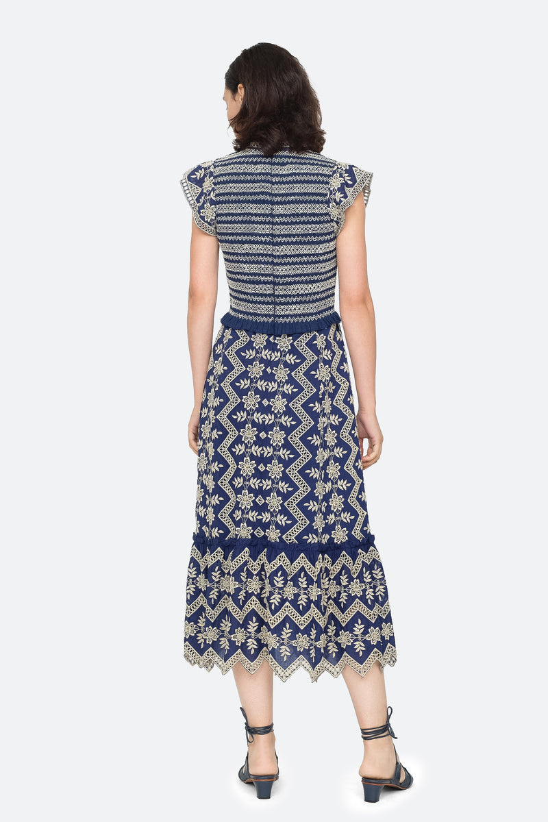 Blue - Zippy Midi Dress Back View 6