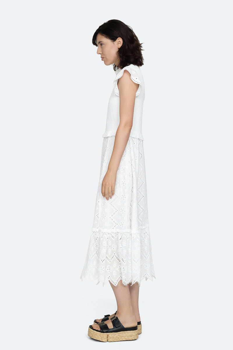 White - Zippy Midi Dress Side View 3