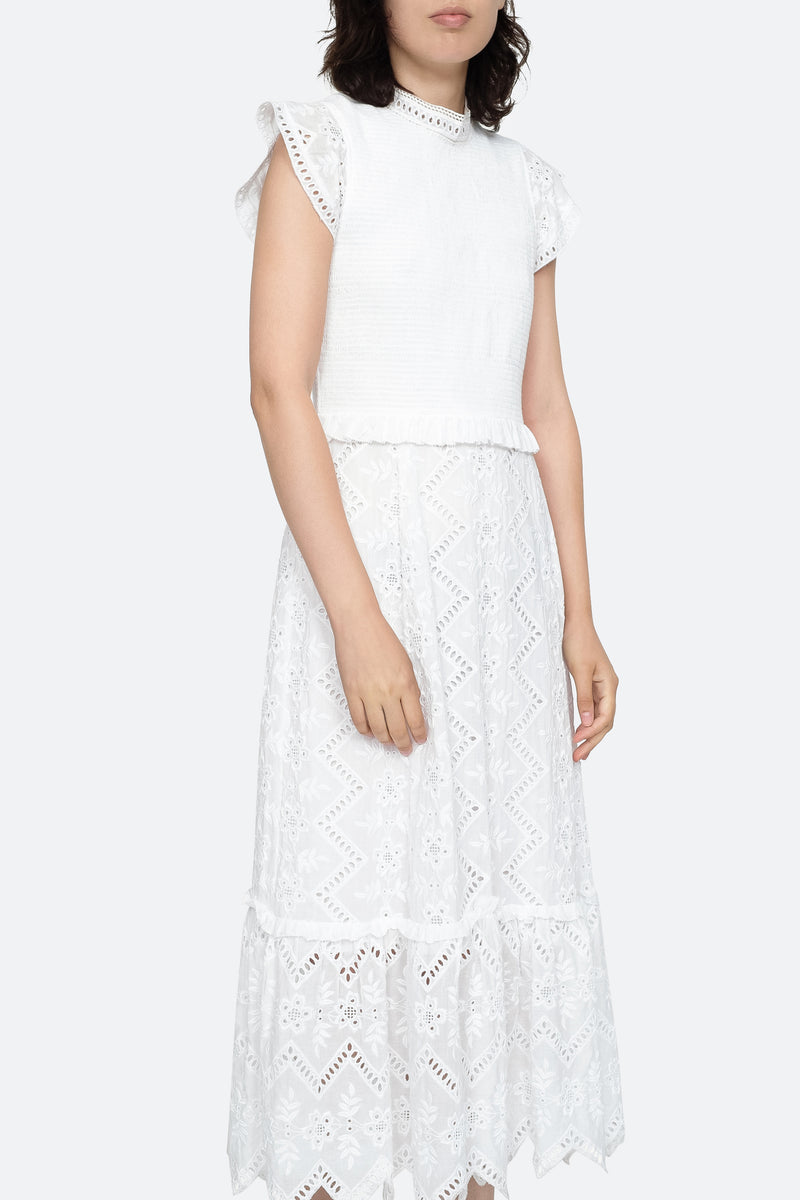 White - Zippy Midi Dress Front View 4