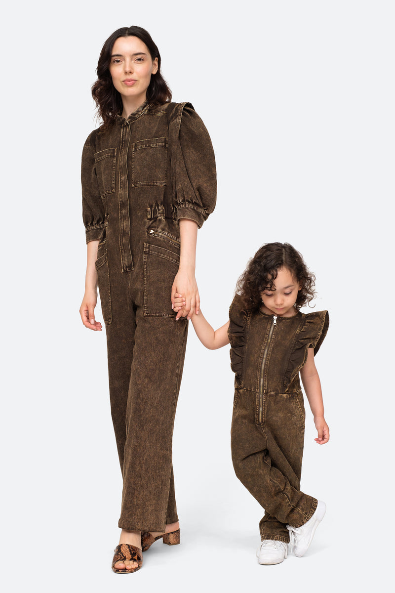 Black-Hildur Kids Jumpsuit-Model View 3
