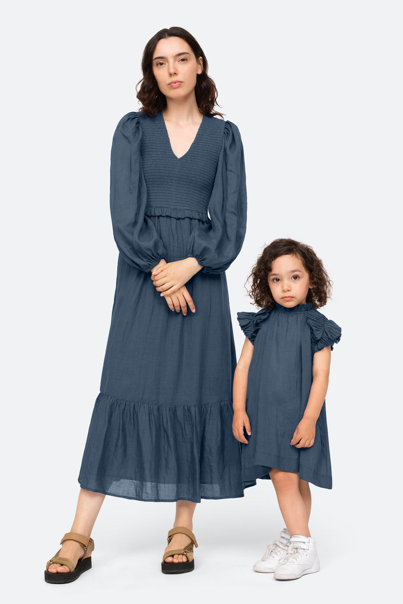 Marine-Hattie Kids Dress-Model View 3