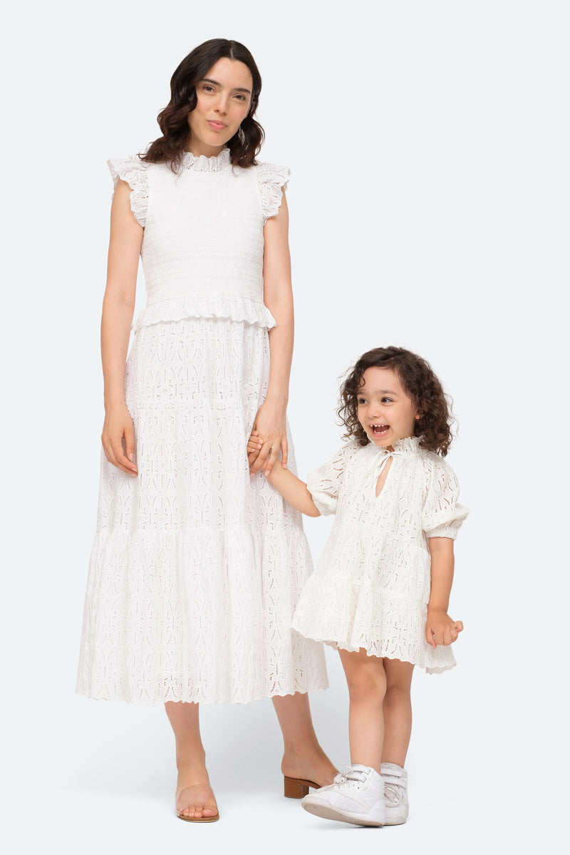 White-Iris Kids Dress-Model View 3