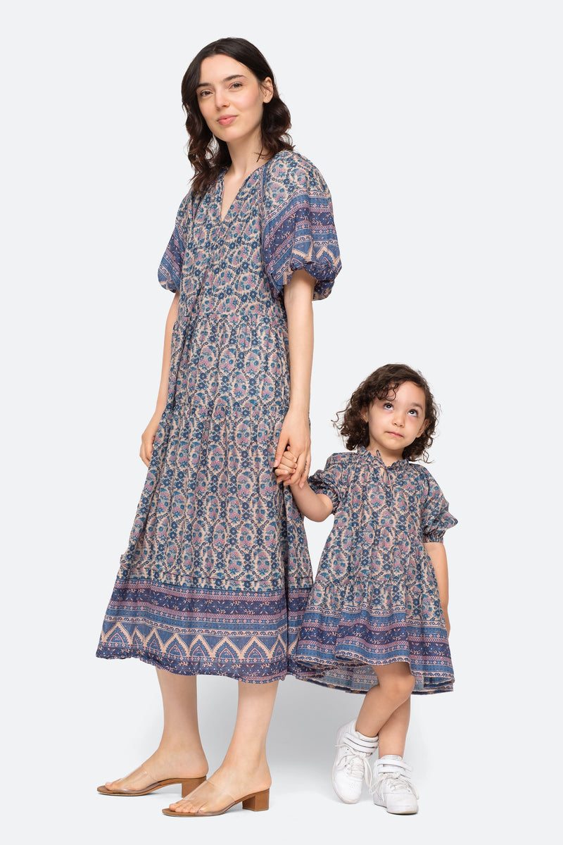 Multi-Verbena Kids Dress-Model View 2