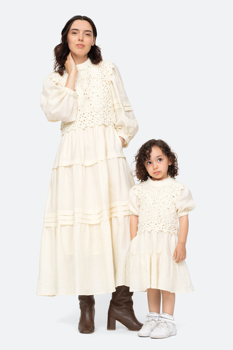 Ivory-Zandra Kids Dress-Model View 2