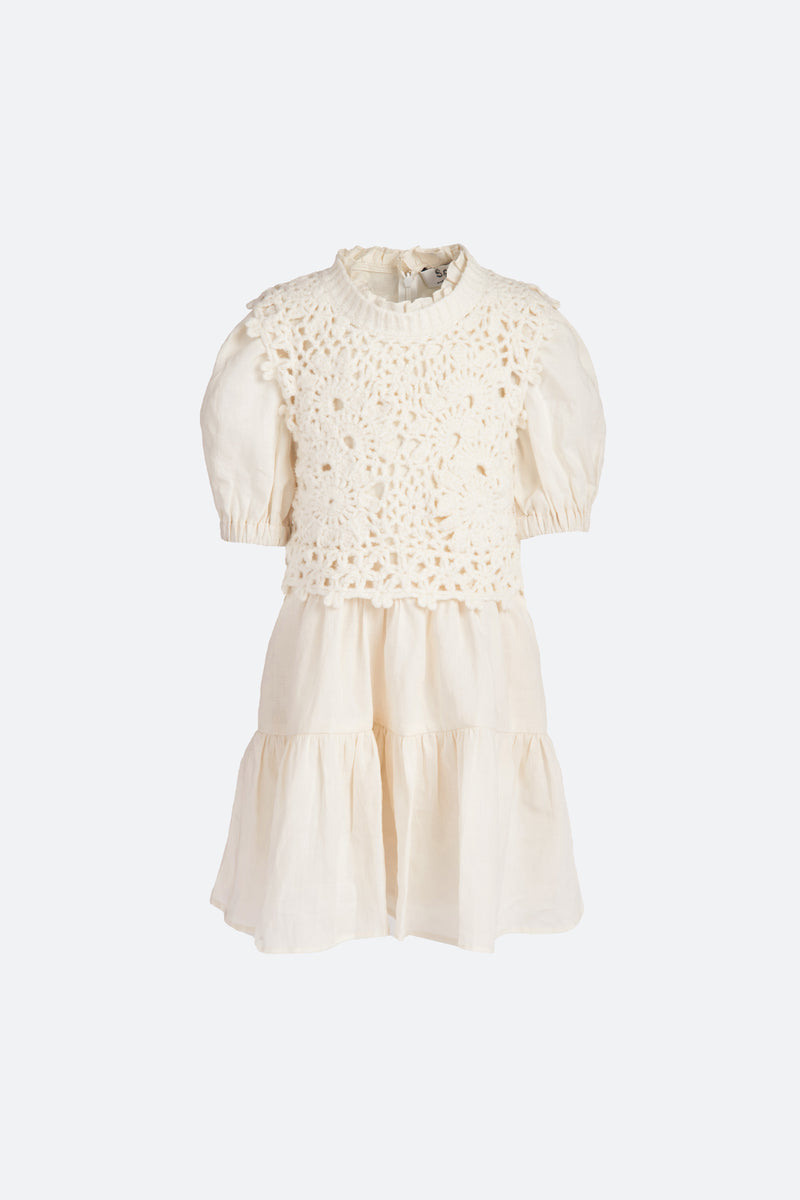 Ivory-Zandra Kids Dress-Flat View 1