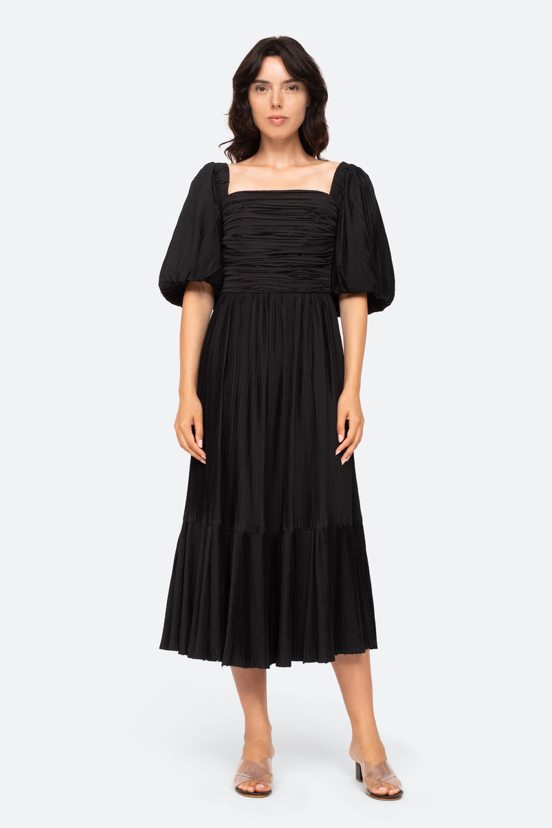 Black-Nadja Pleat Dress-Front View 1