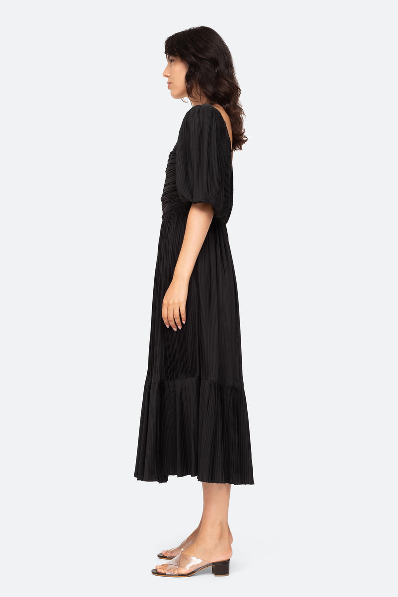 Black-Nadja Pleat Dress-Side View 3