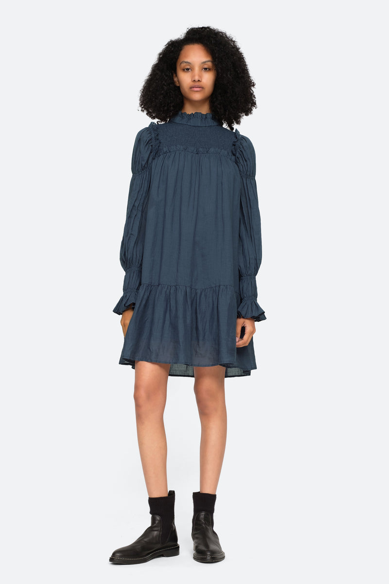 Marine-Hattie L/S Dress-Front View 4