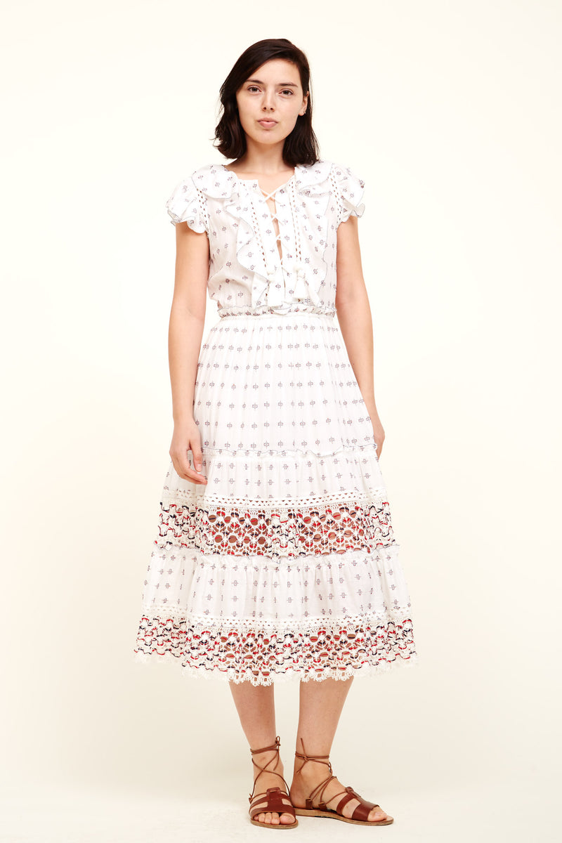 Colette lace-trimmed embroidered cotton dress Sea New York A3KJ74X