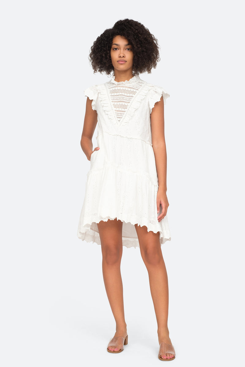 White - Lea Ruffle Dress Front View 1
