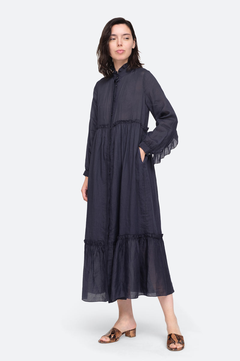 Navy - Lucy Maxi Dress Front View 1