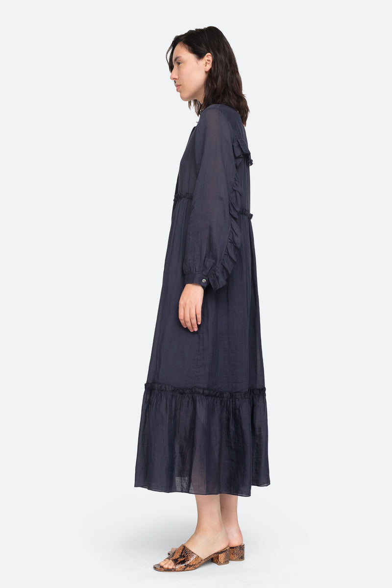 Navy - Lucy Maxi Dress Side View 3