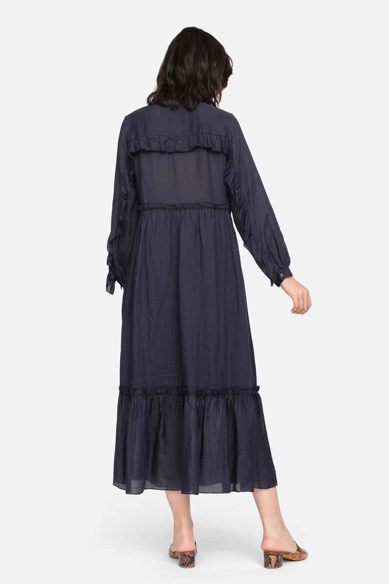 Navy - Lucy Maxi Dress Back View 2