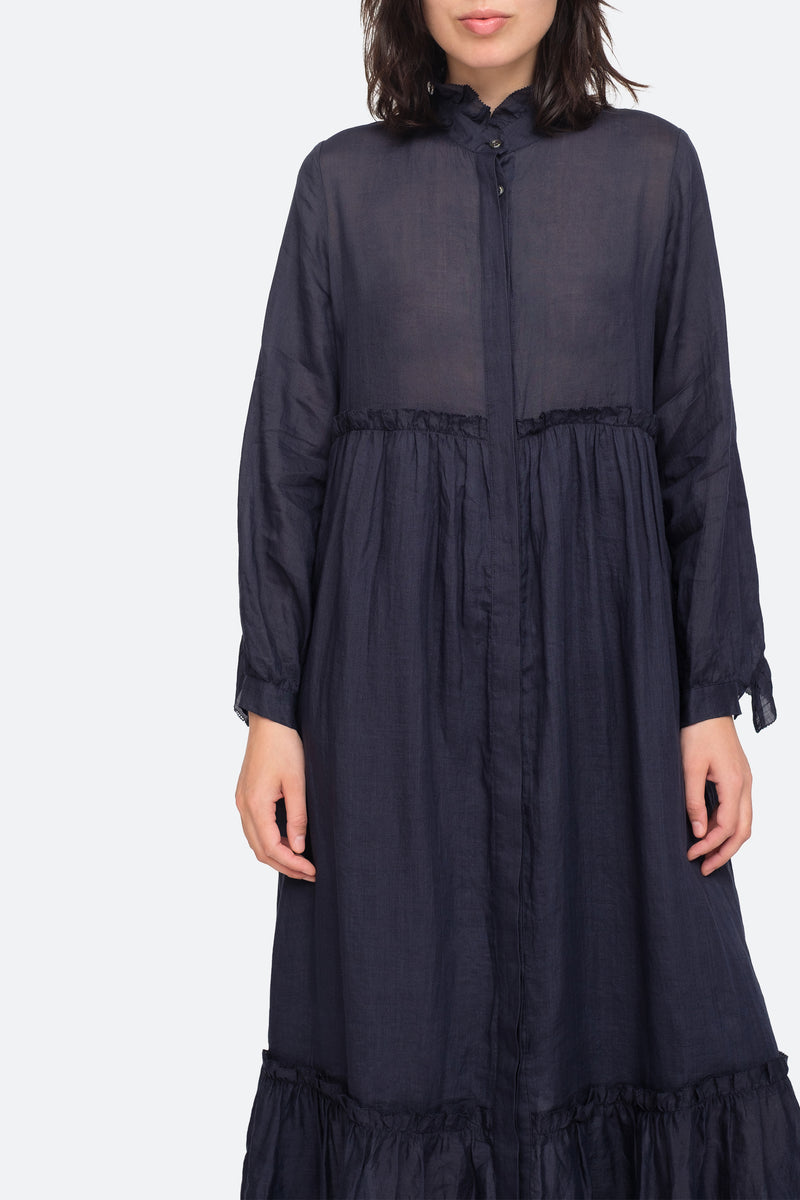 Navy - Lucy Maxi Dress Close View 4