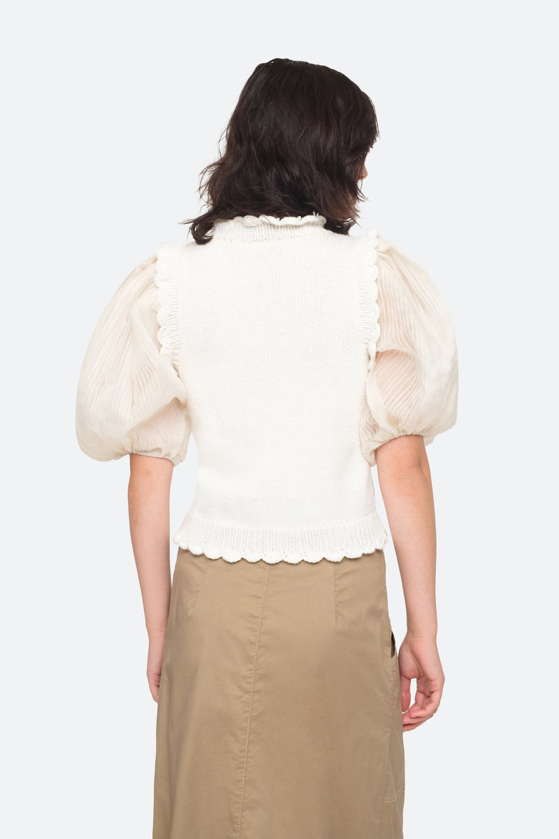 White - Olive Sweater Back View 2