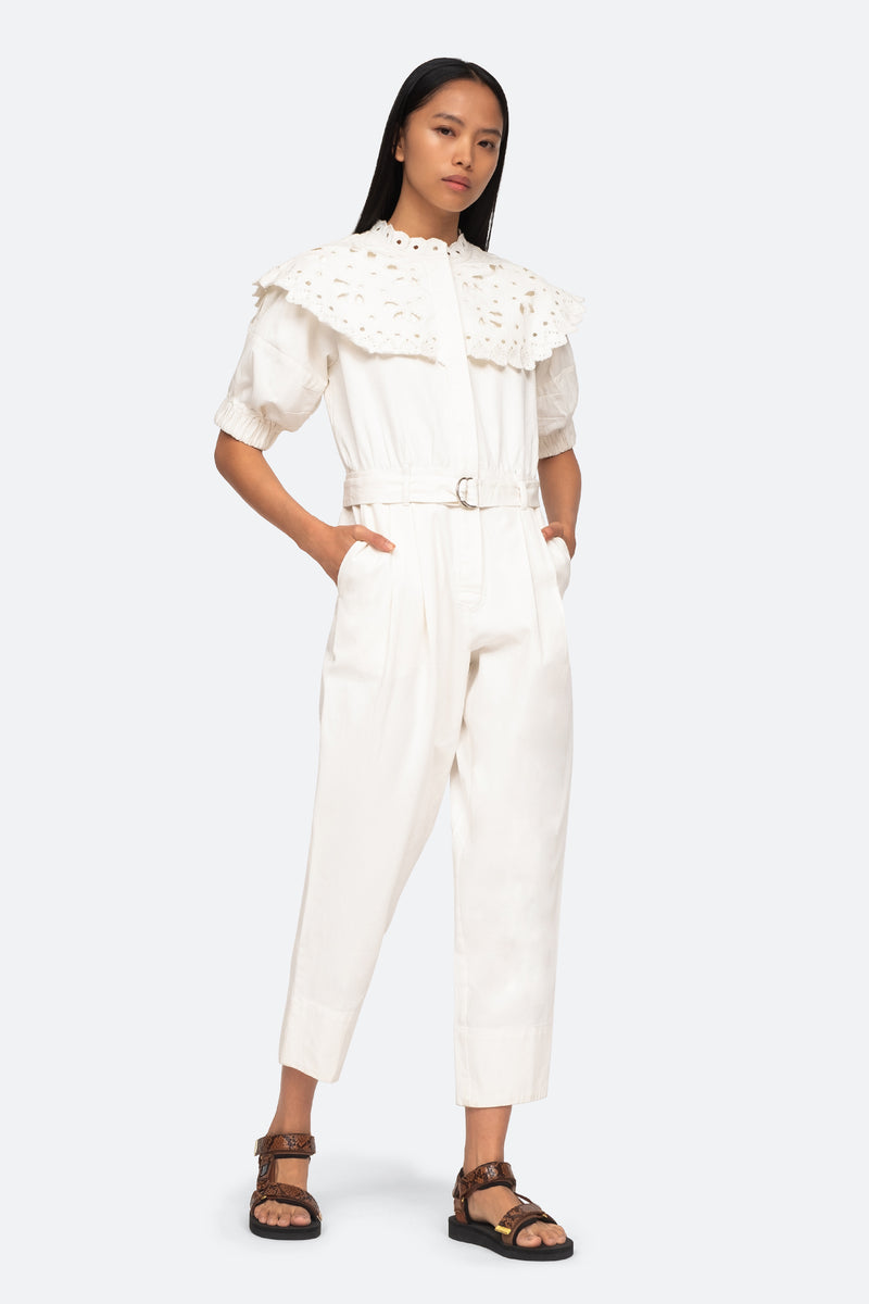 White-Hazel Jumpsuit-Front View 1