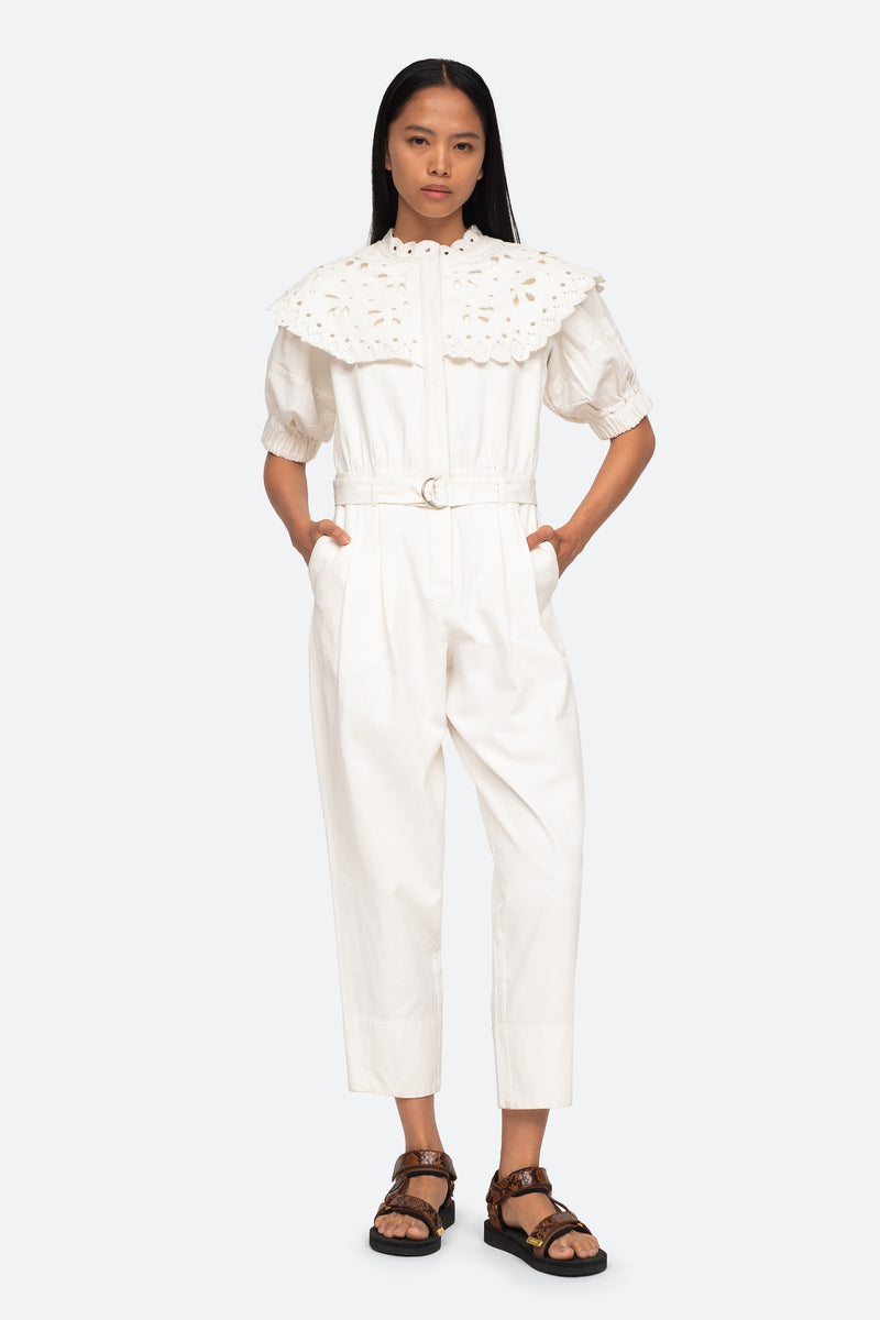 White-Hazel Jumpsuit-Front Hand in Pockets View 4