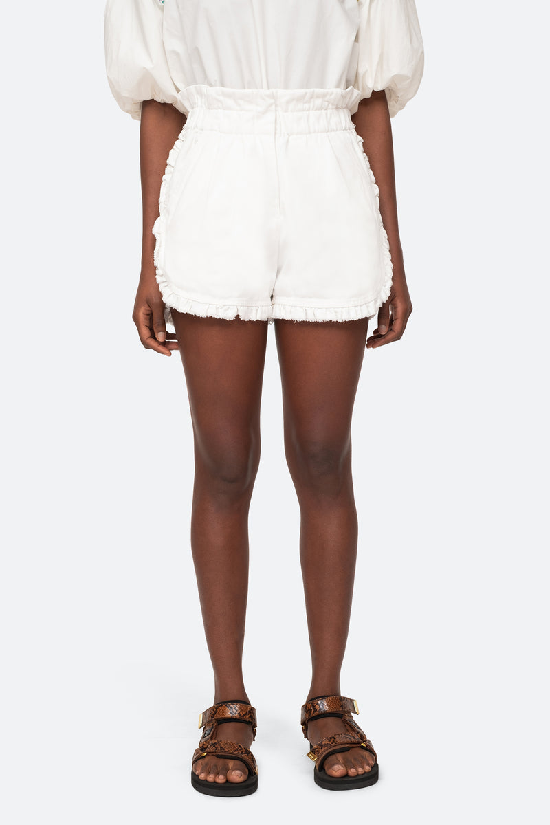 White-Ruffle Shorts-Front View 1