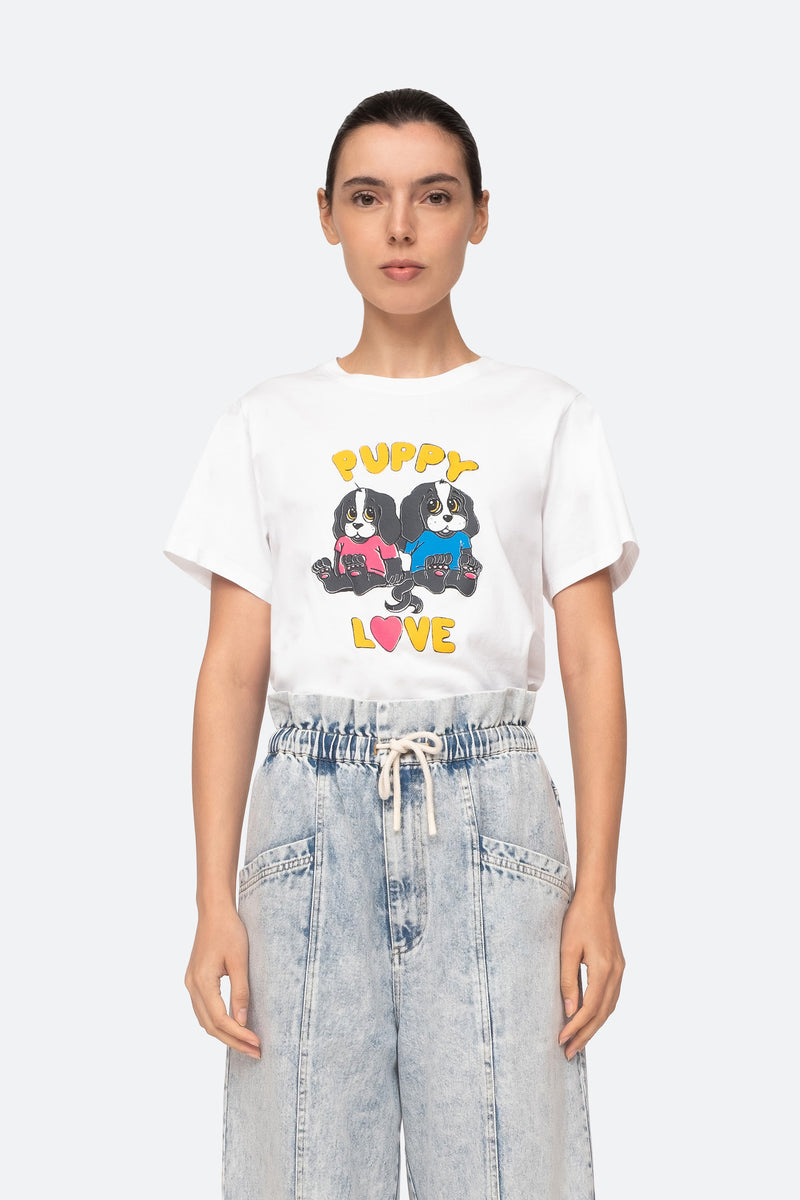 White-Puppy Love T-Shirt-Tucked In View 4