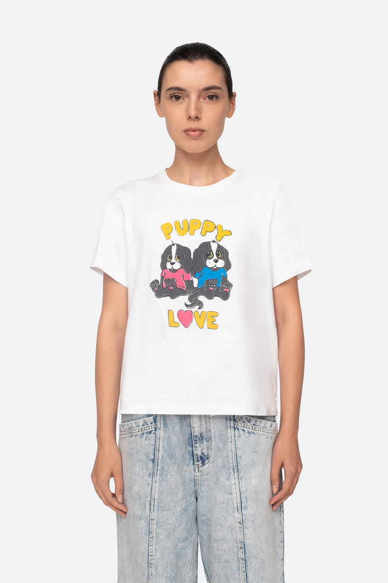White-Puppy Love T-Shirt-Front View 1
