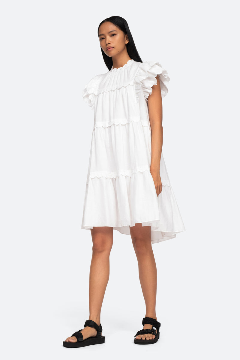 White-Shannon Ruffle Dress-Side View 3