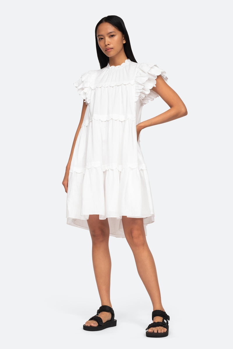 White-Shannon Ruffle Dress-Front View 1