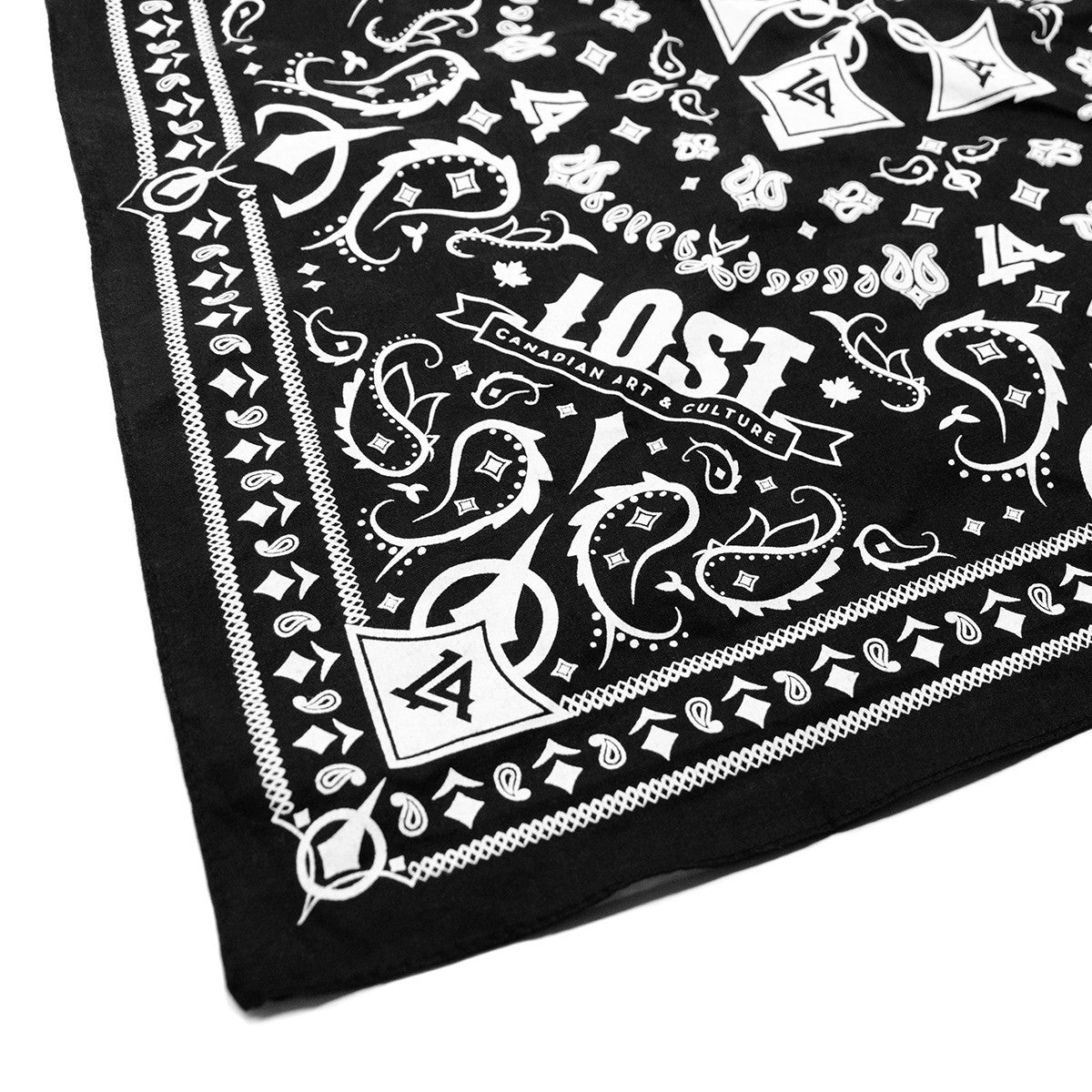 Lost Art Canada - custom black bandana close up