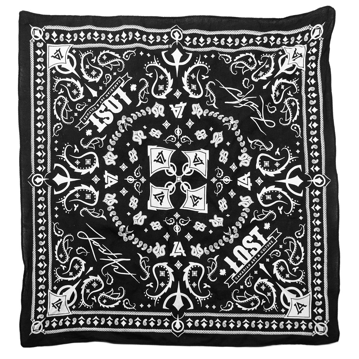 Lost Art Canada - custom black bandana front view