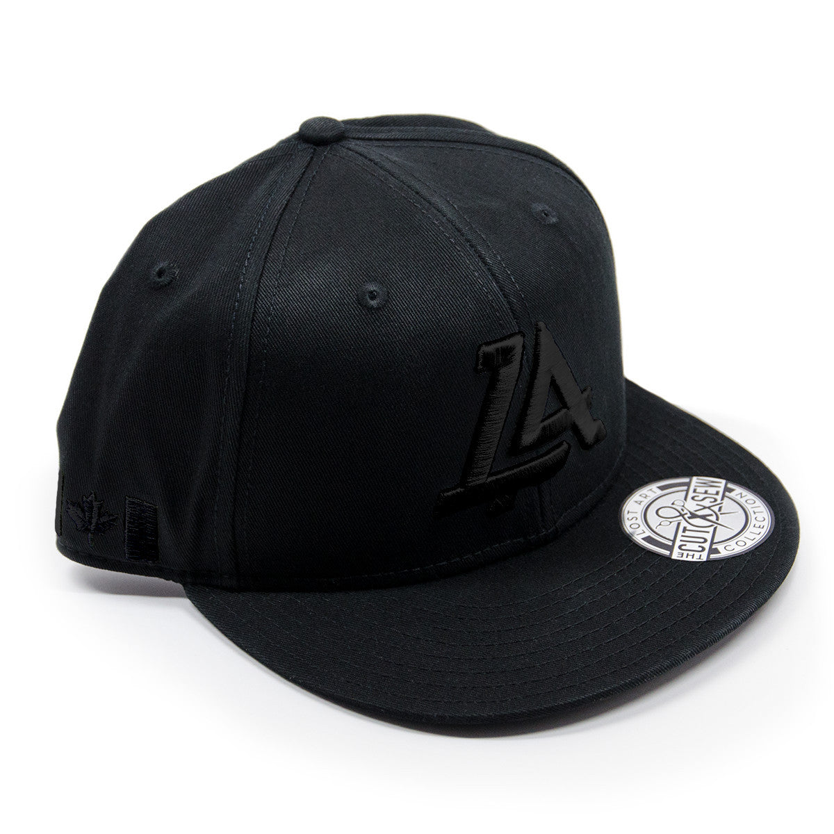 Lost Art Canada - black logo black snapback hat front view