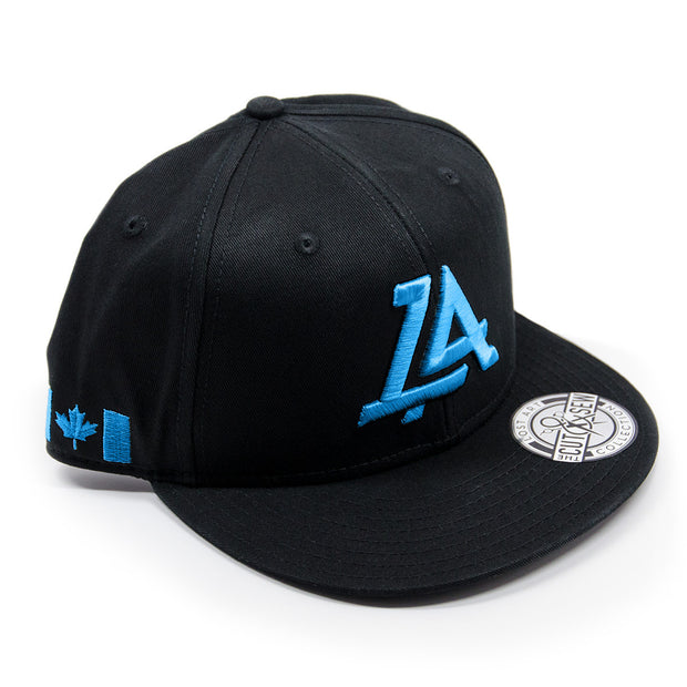Lost Art Canada - blue logo black snapback hat front view
