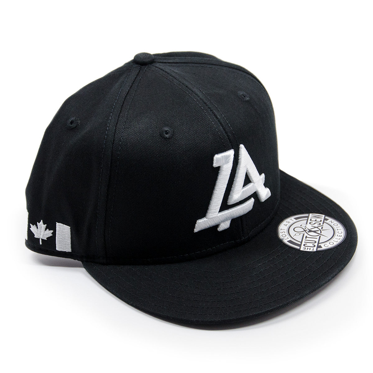 Lost Art Canada - white logo black snapback hat front view