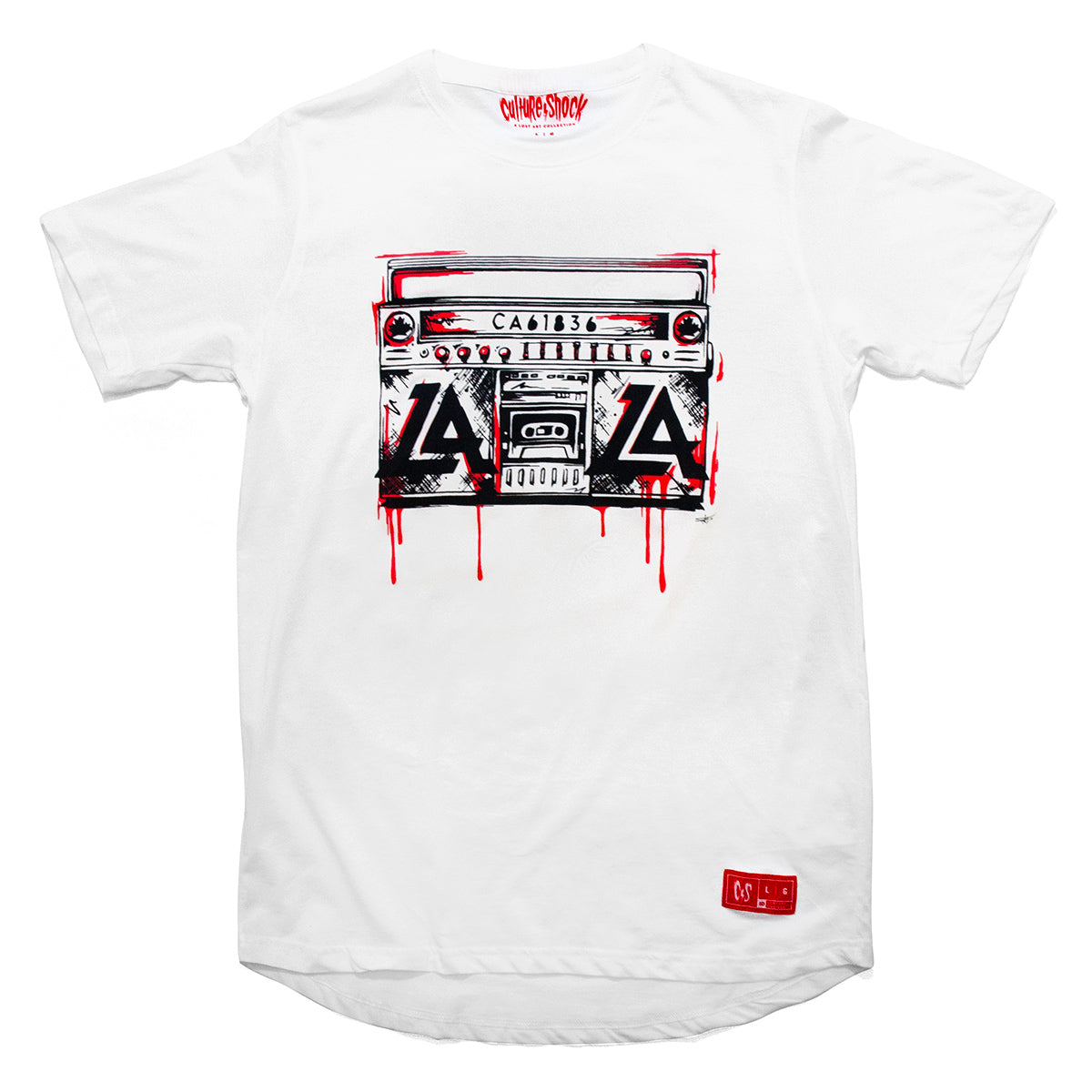 Culture Shock Canada - white Lost Art boombox tee front view
